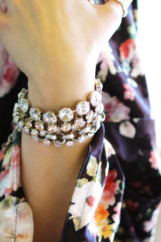 Sparkling bracelet stack inspired by our collection this month: Winter Wonderland Discotheque! At Coco and Duckie