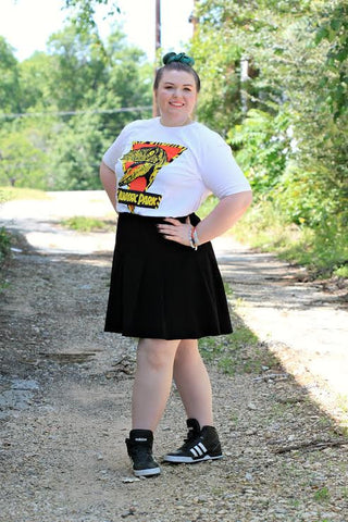 Coco OOTD Jurassic Park T-shirt, Black Mini, High Tops and the Shekinah Cross Earrings by Visible Faith at Coco and Duckie