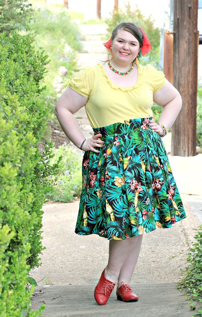 Coco styling Pinup Girl Clothing with the Banana Banana Earrings by N2 at Coco and Duckie