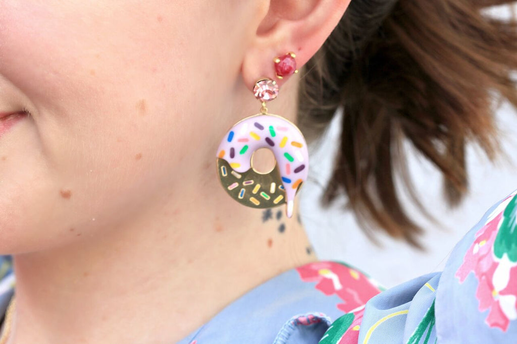 Duckie styling the Donut Earrings by N2 Paris at Coco and Duckie - See her #OOTD by clicking through!