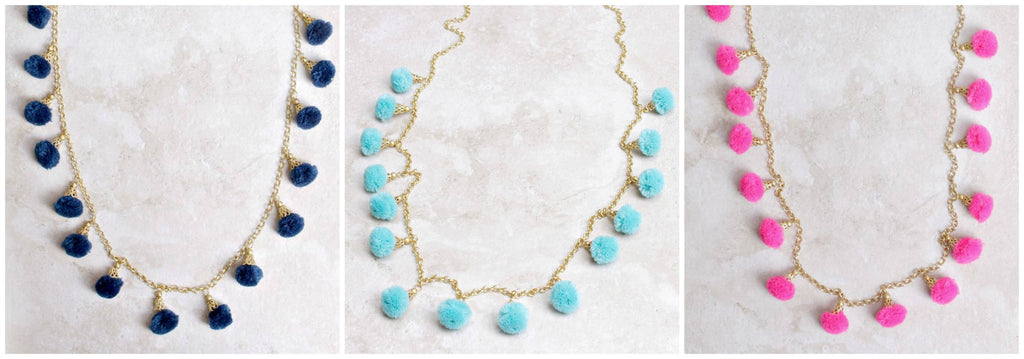 Fiesta Pom Pom Necklaces in Navy, Aqua and Hot Pink at Coco and Duckie