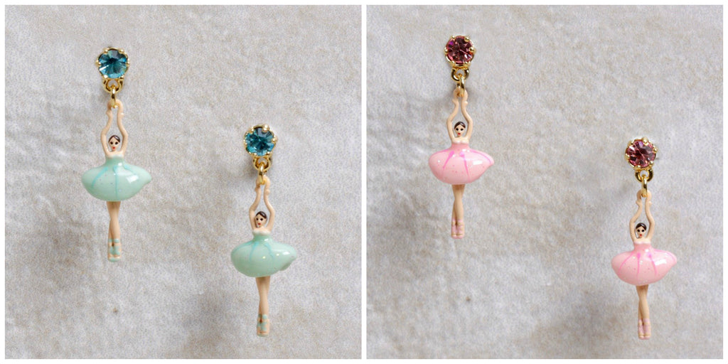 Les Nereides Mini Ballerina Earrings in Pastel Hues at Coco and Duckie