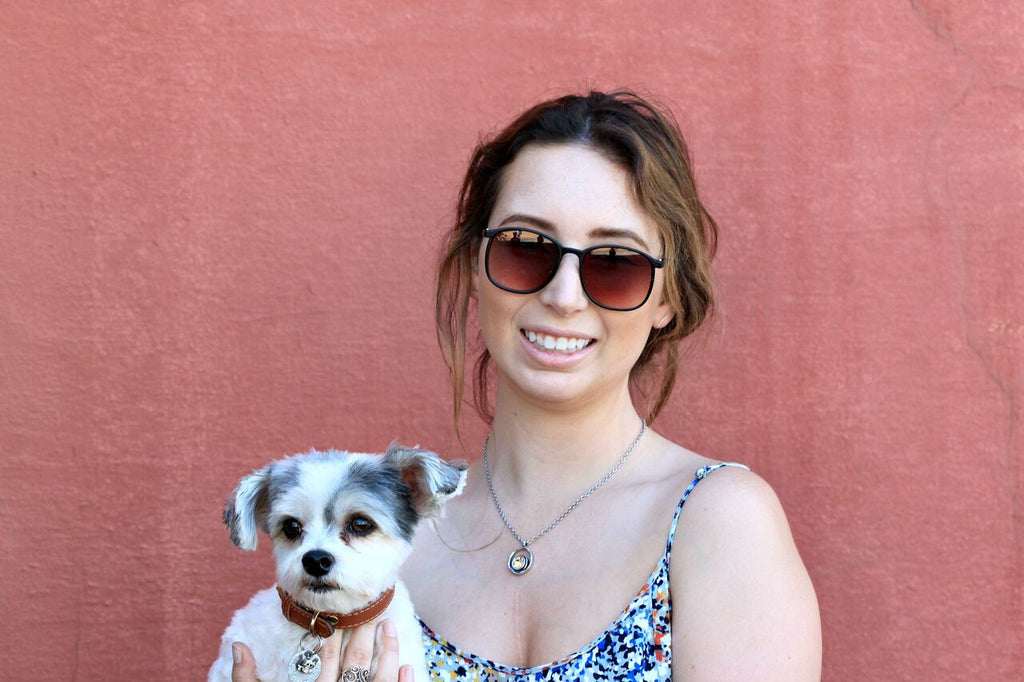 Allison (with best friend, Paisley) styling the Serenity Necklace by Patricia Locke in Light Colorado at Coco and Duckie