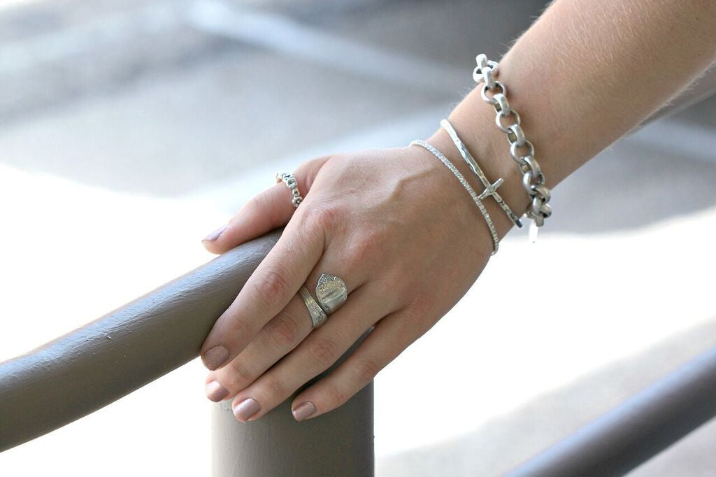 Gabby's #ArmCandy styling the Silver Cross Bangle by Visible Faith Jewelry at Coco and Duckie. #CocoAndDuckie #LetInTheLovely #Bracelet #Silver #Jewelry #VisibleFaithJewelry #Cross #HandmadeJewelry #Accessories #LOTD #OOTD
