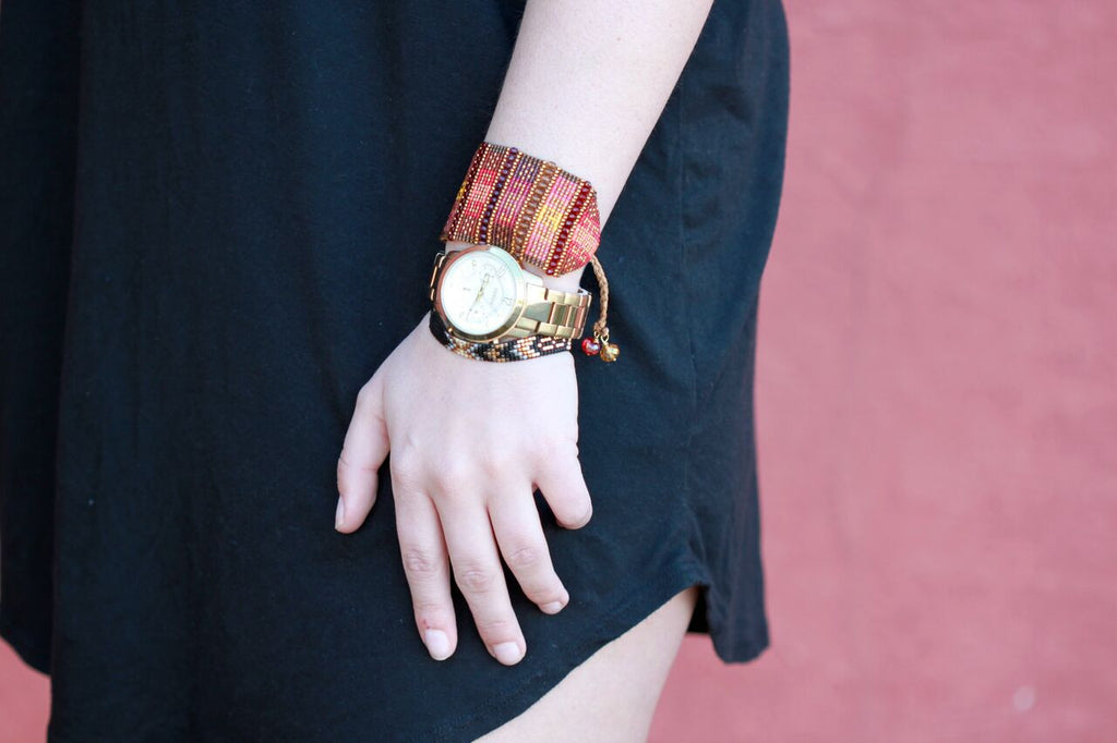 Allison sporting some Mishky Bracelets with her Fossil Watch in our Styled 3 Ways blog post about the Banana Banana Earrings by N2 Paris at Coco and Duckie
