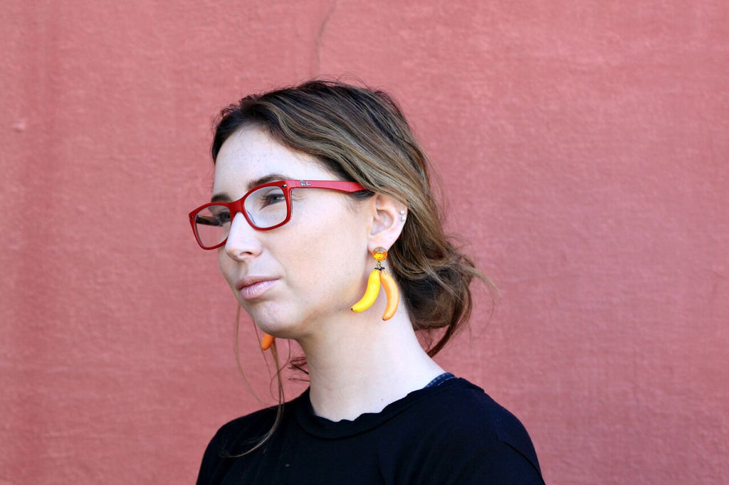 Allison styling the Banana Banana Earrings by N2 Paris at Coco in Duckie in our latest Styled 3 Ways blog post.