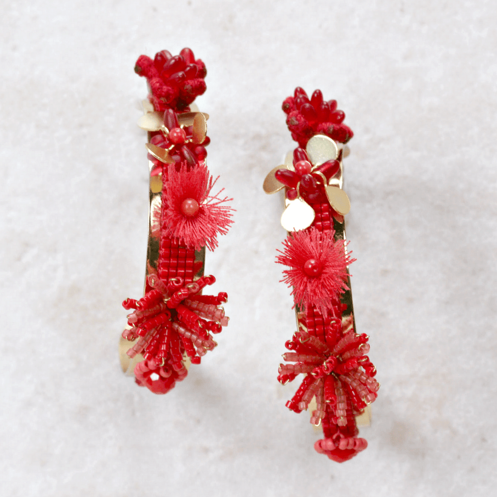 Red Morobia Earrings - Mishky - Coco and Duckie