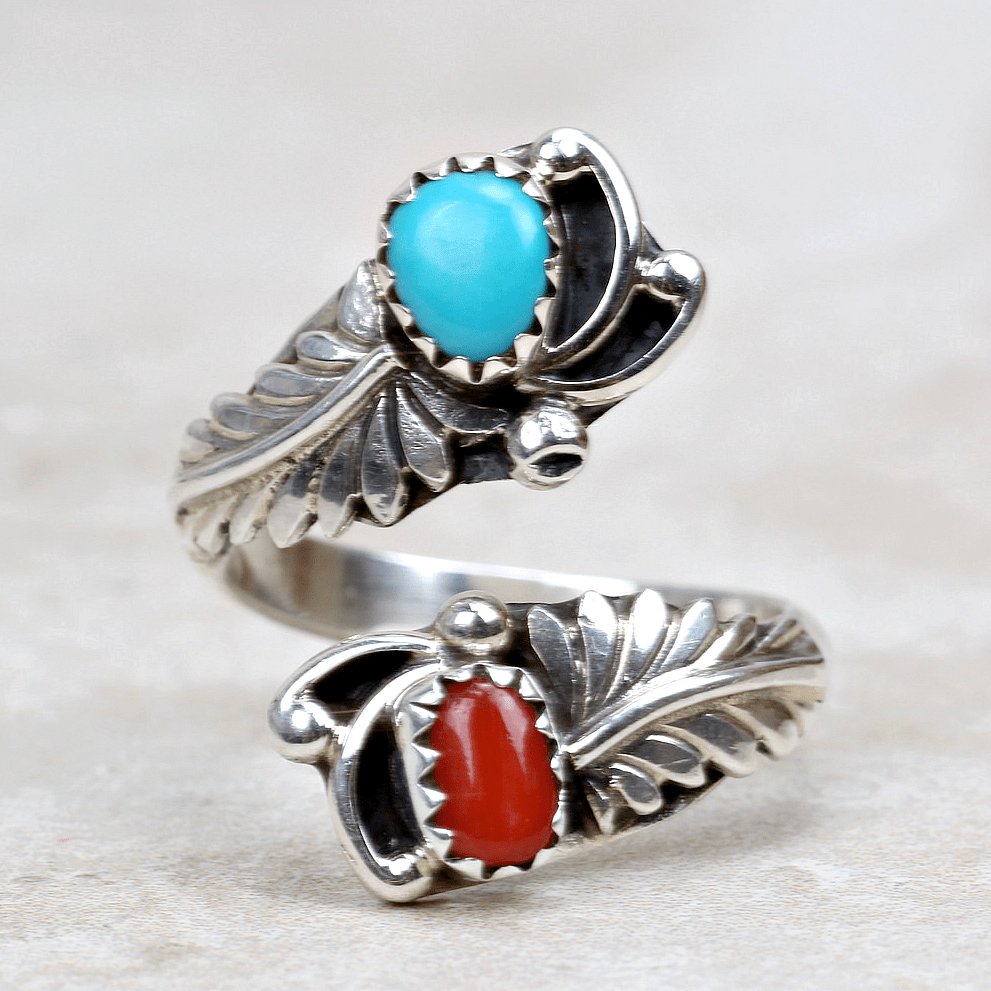 Malinda Turquoise and Coral Ring - Southwest Jewelry Artists-ST - Coco and Duckie