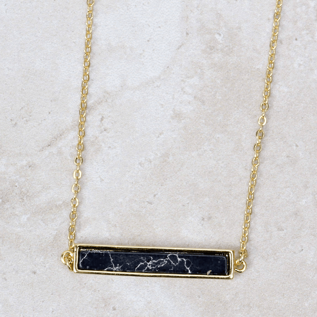 Black Marble Bar Necklace - Brenda Grands Designs - Coco and Duckie