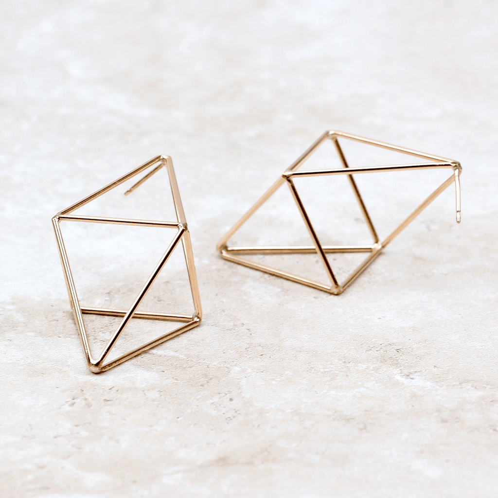Octahedron Posts | Gold - Polaris Jewelry - Coco and Duckie
