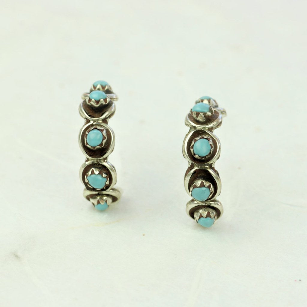 Turquoise Hoop Earrings - Zuni Artist Made - Coco and Duckie