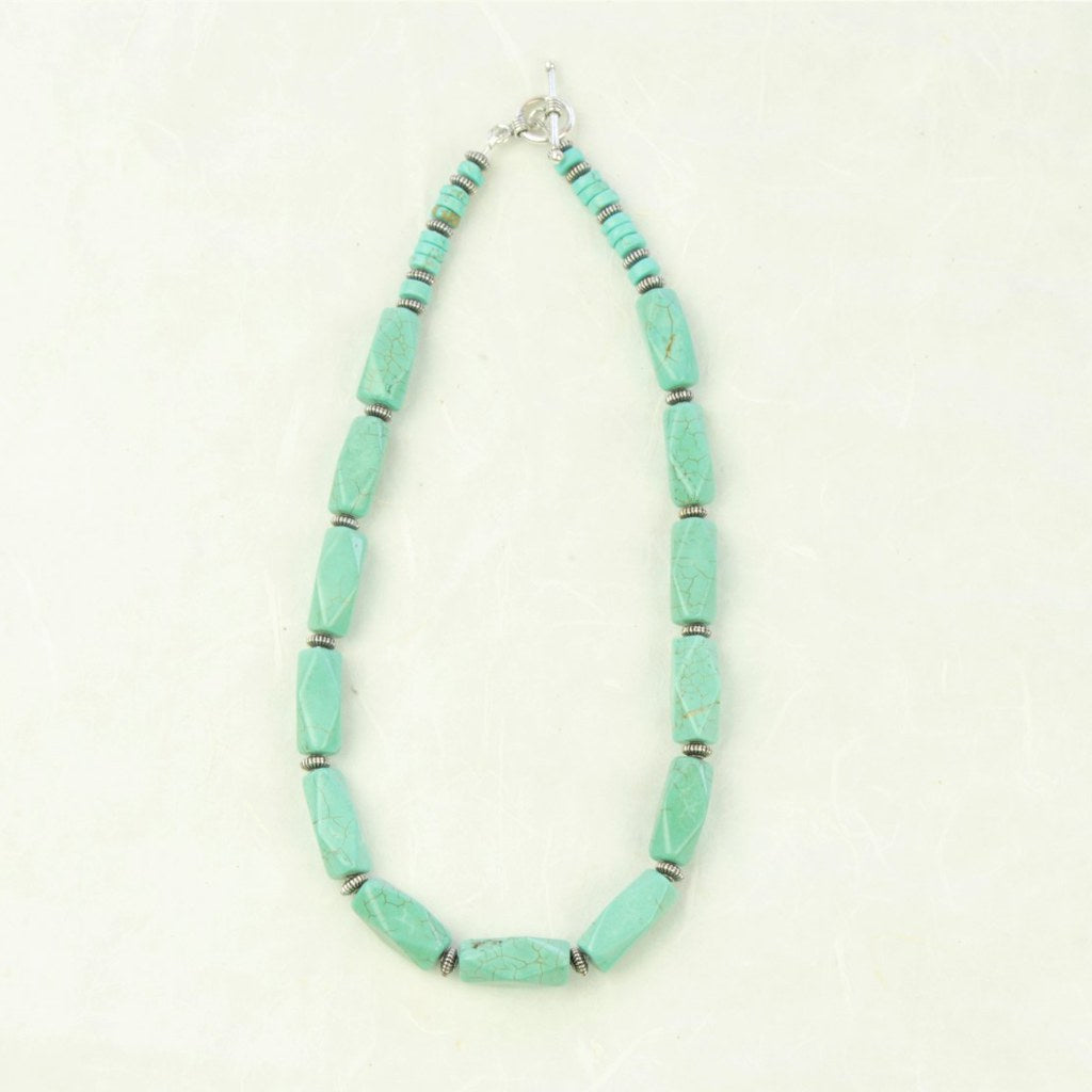 Turquoise Chunky Bead Necklace - Coco and Duckie
