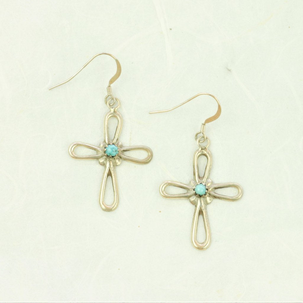 Turquoise Cross Earrings - Navajo Artist Made - Coco and Duckie
