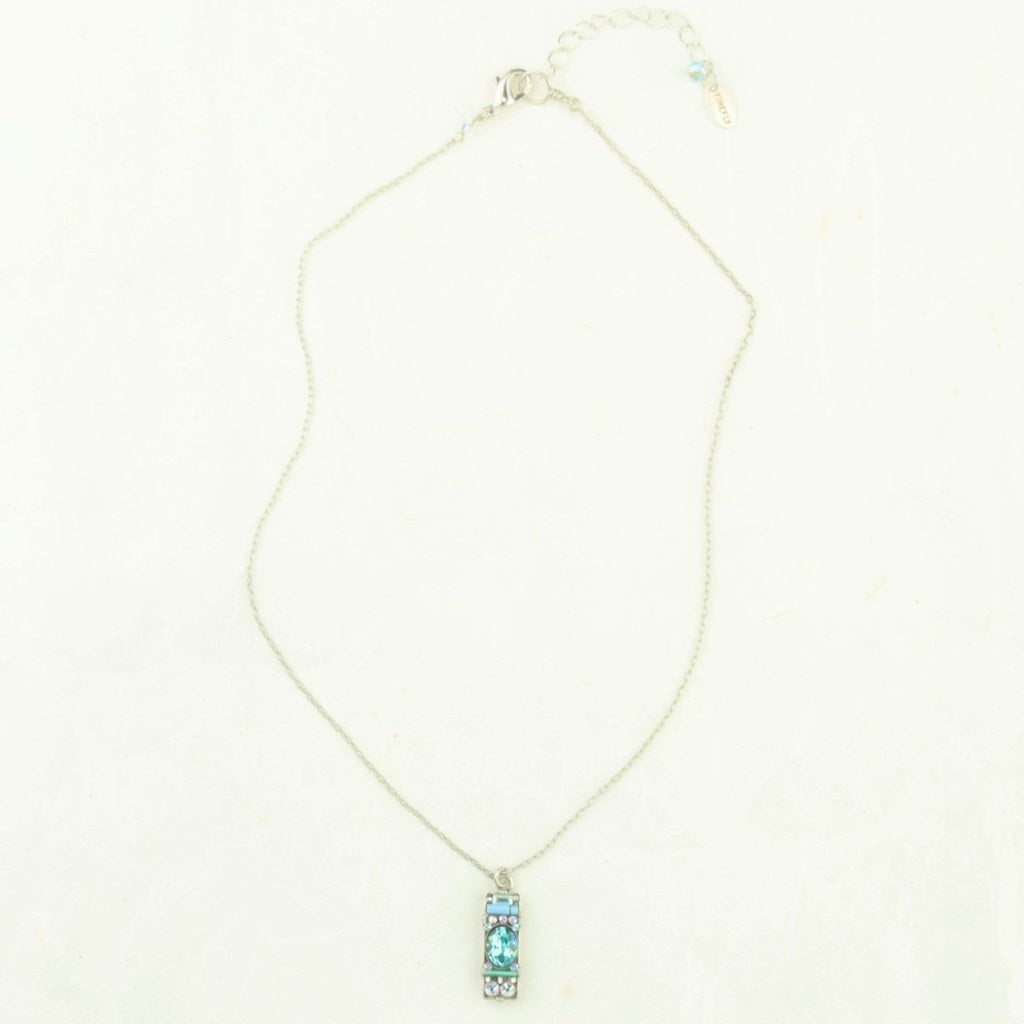 Firefly Ice Blue Dainty Bar Necklace - Firefly - Coco and Duckie