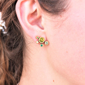 Woman wearing Patricia Locke Here Comes the Sun Post Earrings in Gold, Inverness - Coco and Duckie