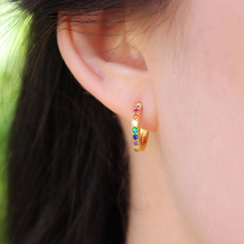 Gold Rainbow Huggie Earrings - Nikki Smith - Coco and Duckie