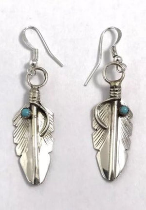 Turquoise Dot Feather Earrings - Navajo Artist - Coco and Duckie