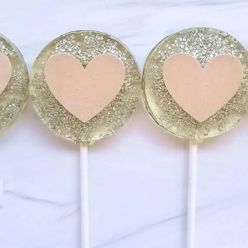 Glittery Pink Heart Lollipop - Sweet Caroline Confections - Coco and Duckie
