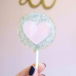 Glittery Pink Heart Lollipop