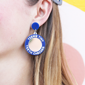 woman wearing things by bean teenie tiny teeth checker earrings in blue - cocoandduckie.com