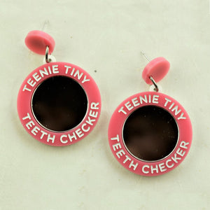 Tiny Teeth Checker Pink Earrings