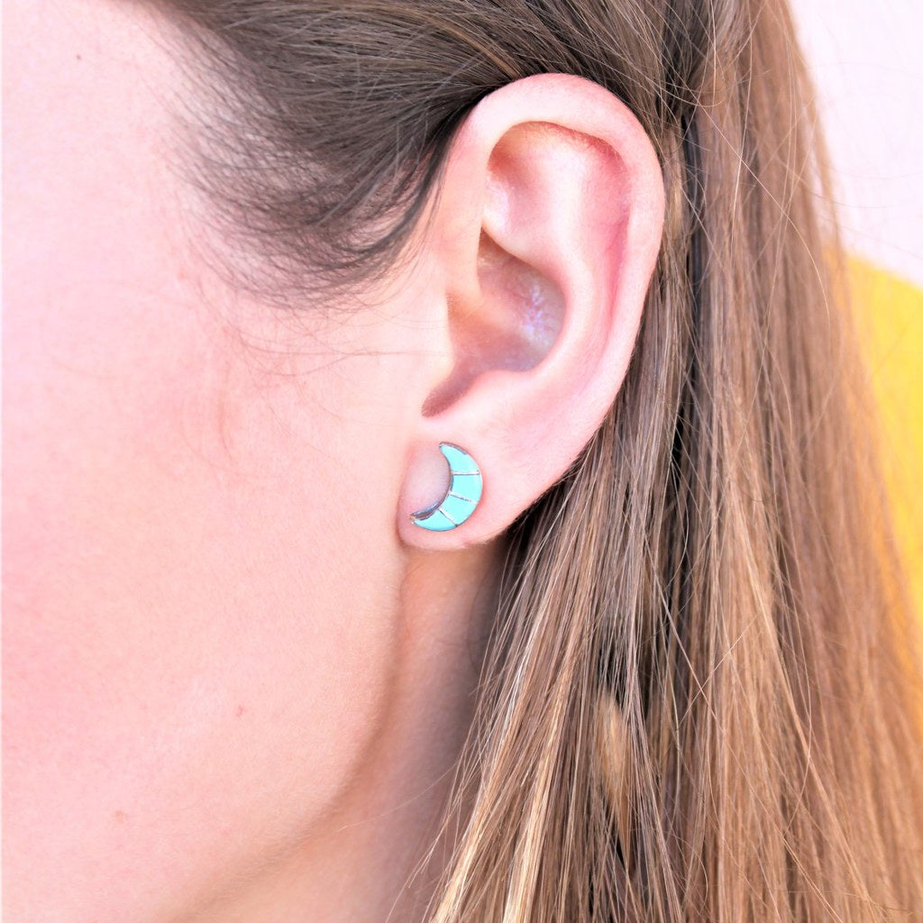 woman wearing sterling silver and turquoise crescent moon earrings - coco and duckie