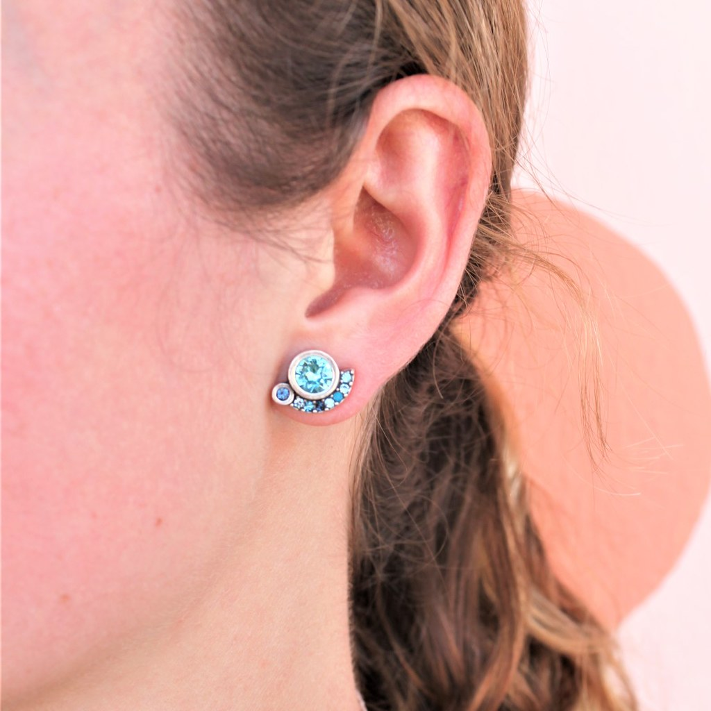 Close up of woman wearing Zsa Zsa Post Earrings in silver, bermuda - Patricia Locke Jewelry - cocoandduckie.com