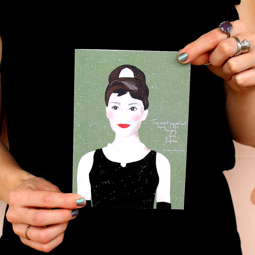 Illustration Card | Audrey Hepburn - Coco and Duckie