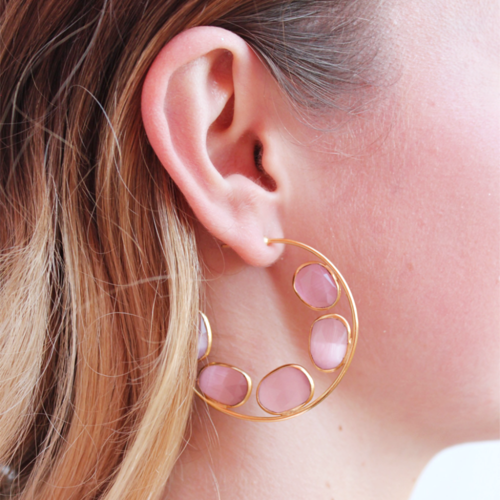 Doreen Earrings | Pink Agate - Coco and Duckie