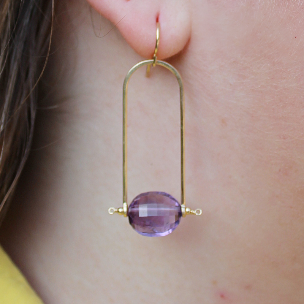 Amethyst Trapeze Earrings - Coco and Duckie
