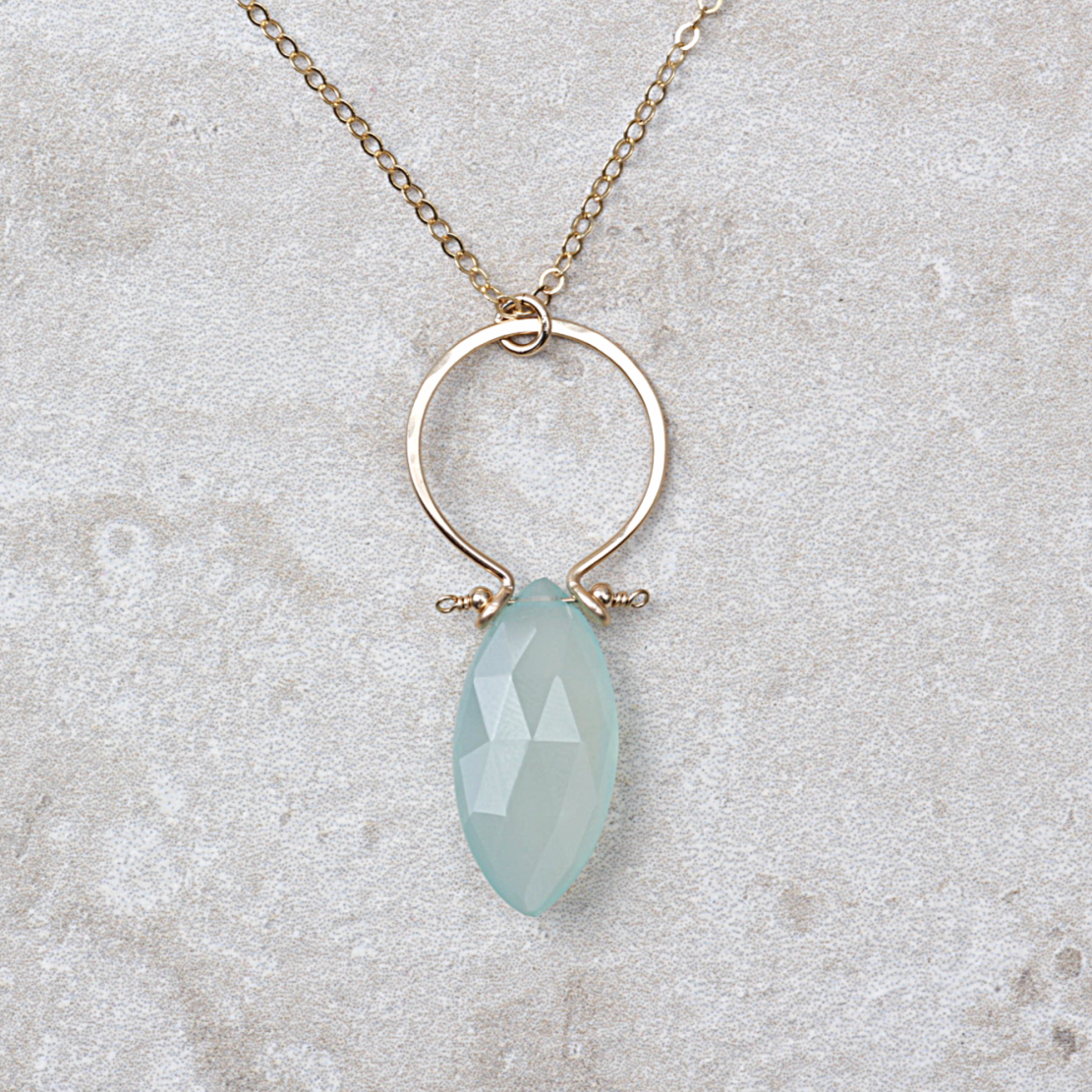 Chalcedony Halo Necklace - Coco and Duckie