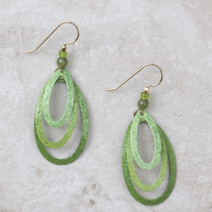 Triple Hoop Earrings | Green Sparkle - Coco and Duckie