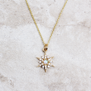 Starburst Opal Necklace | Gold