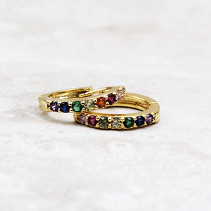 Rainbow Huggie Hoop Earrings | Gold - Coco and Duckie