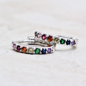Rainbow Huggie Hoop Earrings | Silver - Coco and Duckie