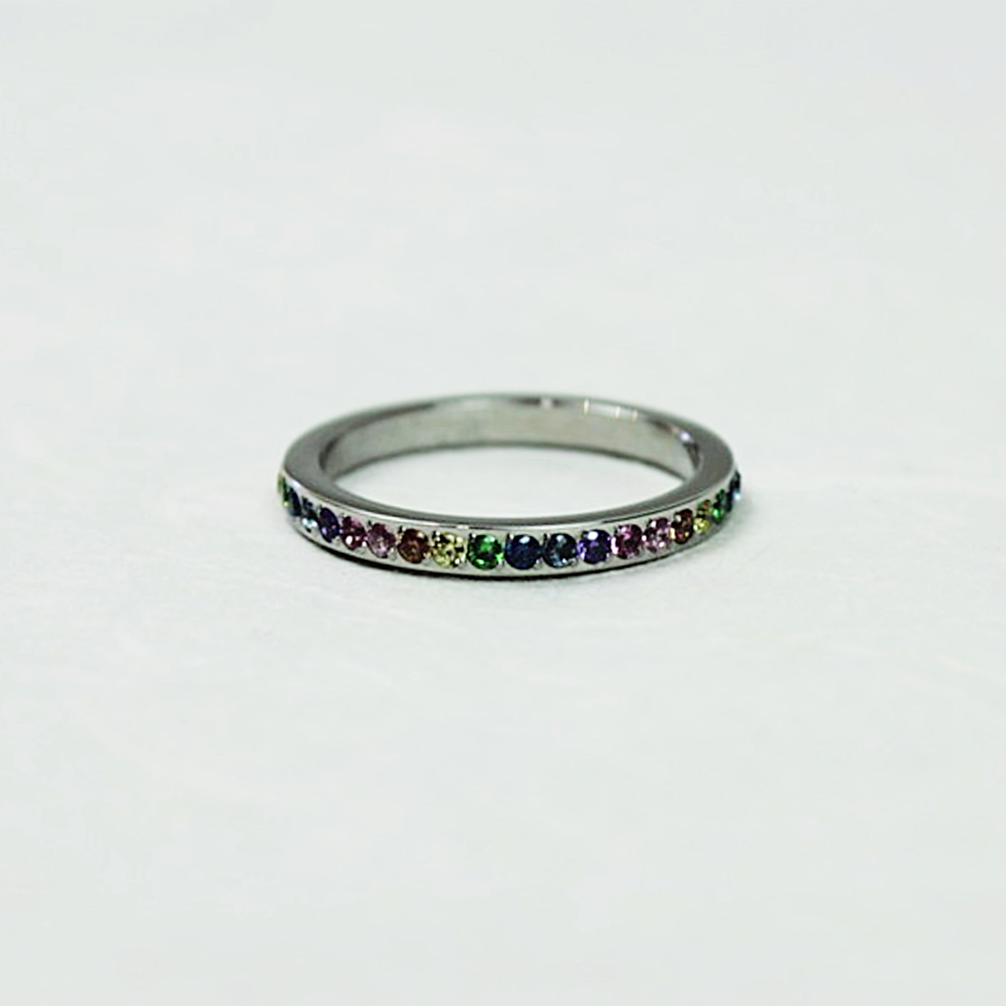 Qudo Eternity Silver Ring | Rainbow - Coco and Duckie