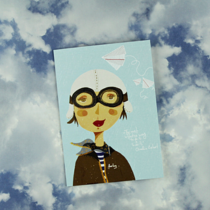 Illustration Card | Amelia Earhart - Coco and Duckie