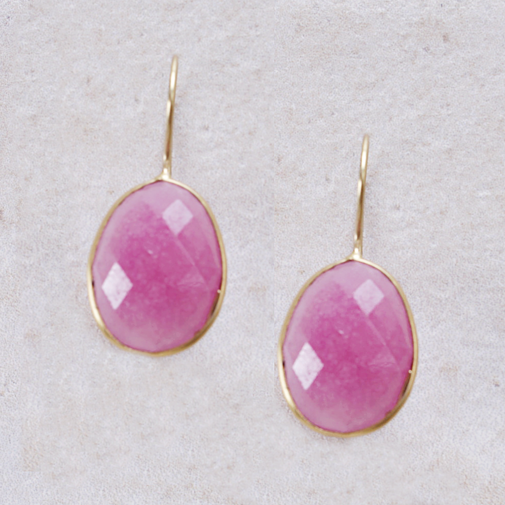 Miriam Pink Agate Earrings - Coco and Duckie