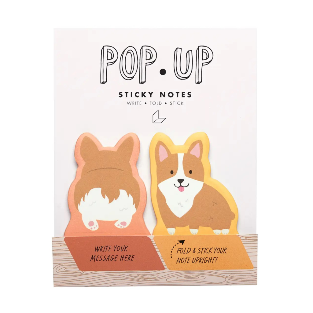 Corgi Pop Up Sticky Notes - Girl of All Work - Coco and Duckie