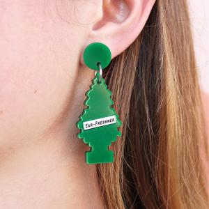 woman wearing things by bean ear freshner earring - coco and duckie