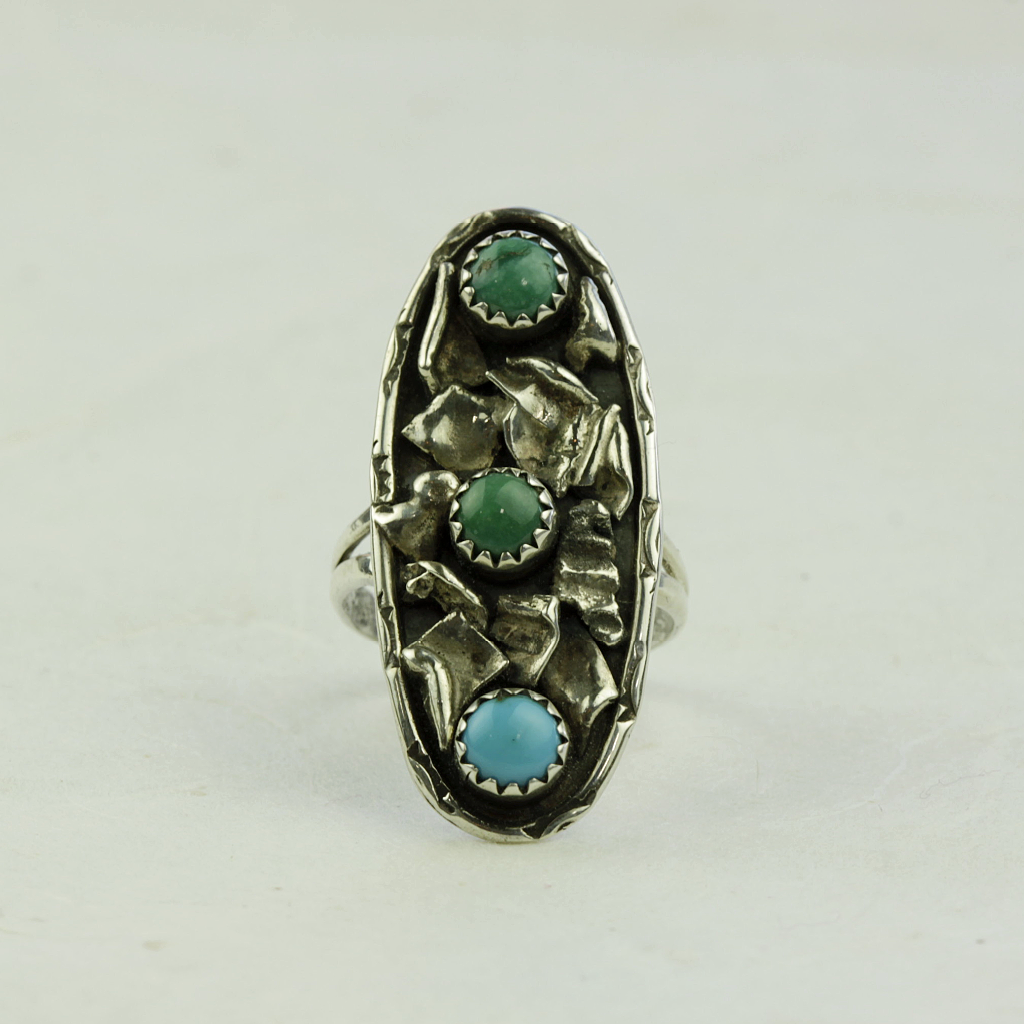 Eudora Turquoise Ring - Navajo Artist Made - Coco and Duckie
