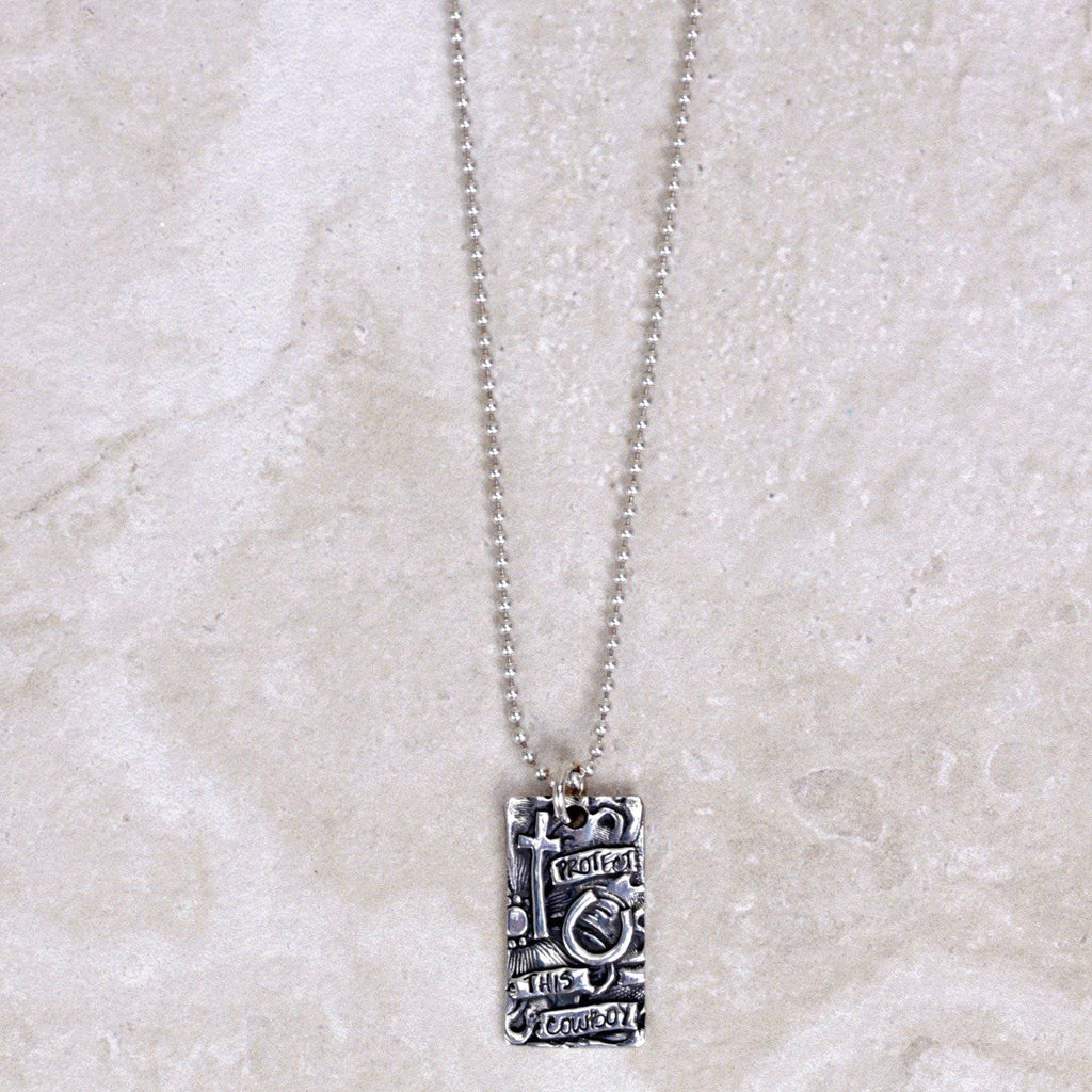 Protect This Cowboy Pendant - Visible Faith Jewelry - Coco and Duckie