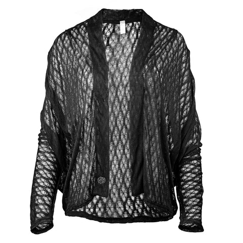 black dolman-sleeved lace cardigan Rosa Hermosa