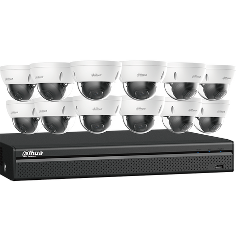 12 4K Dome Network Cameras with One (1) 16-channel 4K NVR