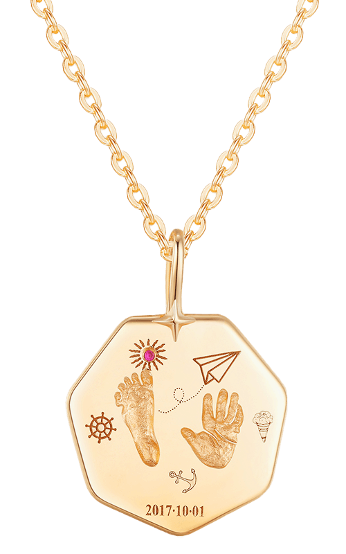 Baby Customized Footprint Handprint Name Necklace