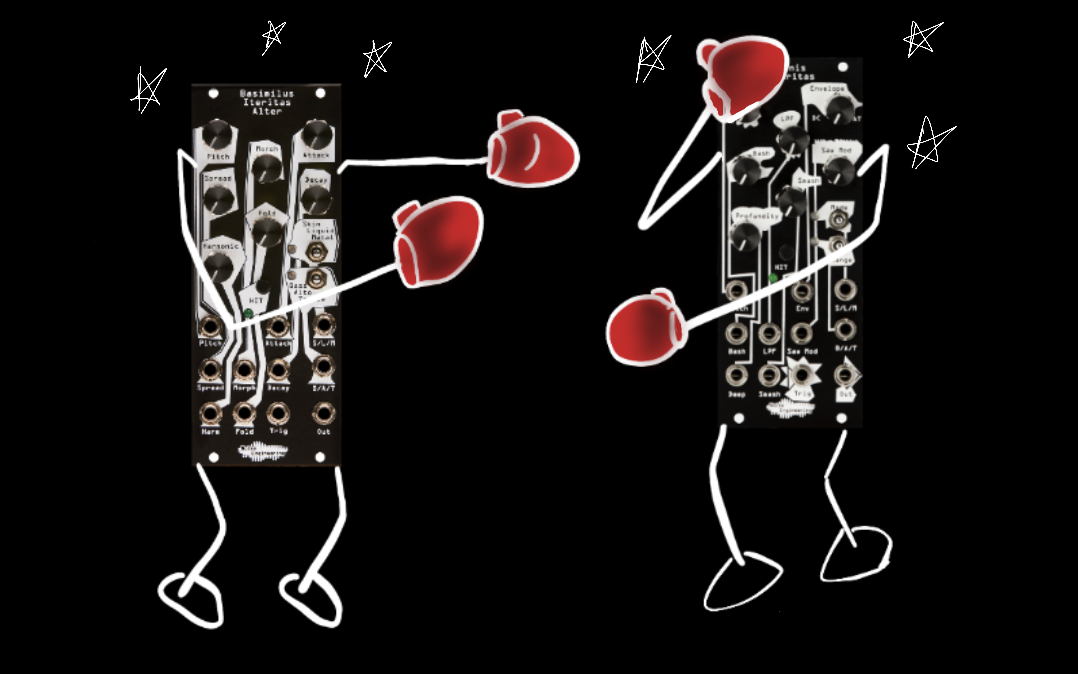 An illustration of two voice modules, Basimilus Iteritas Alter and Manis Iteritas, as boxers in a boxing match. These modules are often compared to each other.
