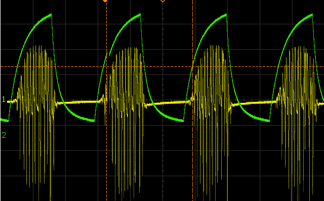 A visual rendering of a sound in yellow, and an envelope contour of the sound in green. It is a very simple Attack-Release envelope.