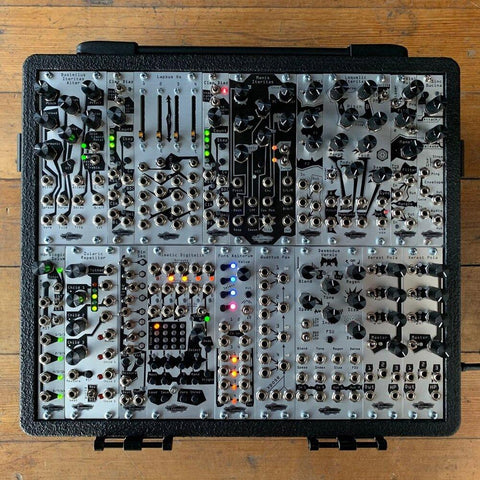 Display of an array of silver modules by Noise Engineering