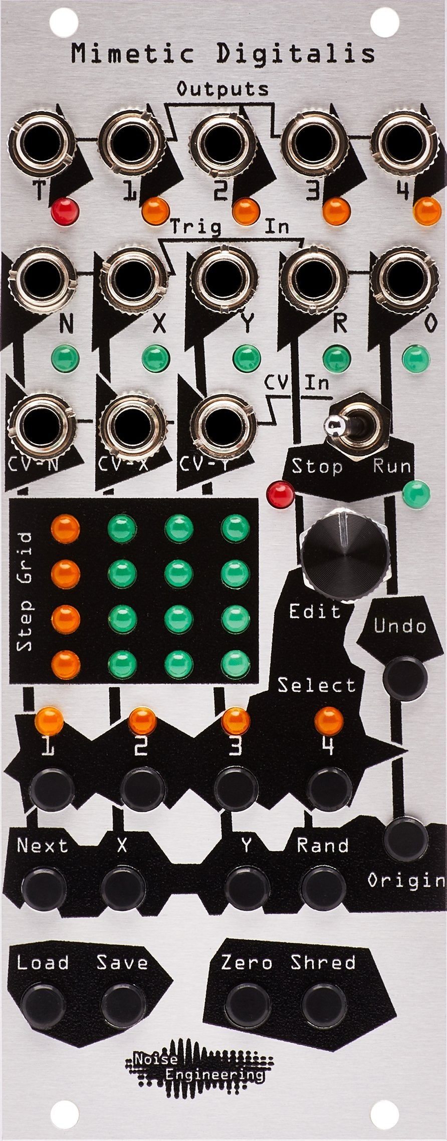 The Mimetic Digitalis module front panel, in silver with black graphics and knobs and LEDs.