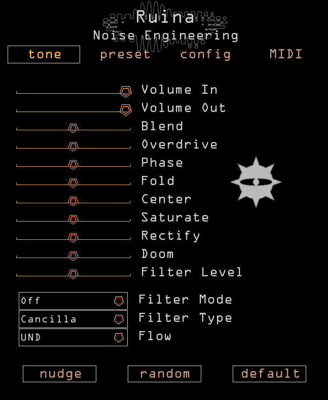 Screenshot of Ruina plugin interface with red and yellow sliders and text with a black backdrop. And the Eye. Ruina is a distortion plugin very similar to our Ruina Versio module.